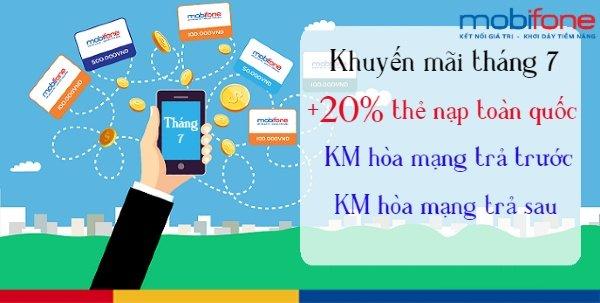 Lịch khuyến mãi MobiFone 20%, KM trả trước, trả sau tháng 7/2019